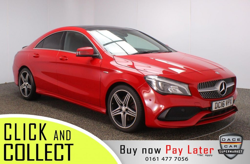 USED 2016 16 MERCEDES-BENZ CLA 2.0 CLA 250 AMG 4DR 215 BHP + PAN ROOF + SAT NAV MERCEDES SERVICE HISTORY + HEATED HALF LEATHER SEATS + SATELLITE NAVIGATION + PANORAMIC ROOF + PARKING SENSOR + BLUETOOTH + CRUISE CONTROL + CLIMATE CONTROL + MULTI FUNCTION WHEEL + XENON HEADLIGHTS + PRIVACY GLASS + ELECTRIC WINDOWS + ELECTRIC/HEATED/FOLDING DOOR MIRRORS + 18 INCH ALLOY WHEELS