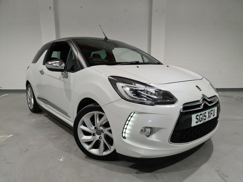 USED 2015 15 CITROEN DS3 1.6 THP DSPORT PLUS S/S 3d 163 BHP Full leather upholstery, Active safety brake, Bluetooth, Parking sensors, Electric folding door mirrors, Multifunction steering wheel