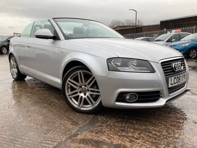 USED 2008 08 AUDI A3 CABRIOLET 1.8 TFSI S LINE 2d 158 BHP 1 FORMER KEEPER+FSH+ALLOYS+USB+1/2 LEATHER SEATS+ELECTRICS+MEDIA+POWER HOOD+CLIMATE+AUX+