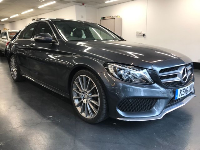 USED 2016 16 MERCEDES-BENZ C-CLASS 2.1 C220 D AMG LINE PREMIUM PLUS 4d 170 BHP Full Mercedes service history, premium Burmester sound system, panoramic roof, exempt ULEZ charge in London, reverse camera, heated seats