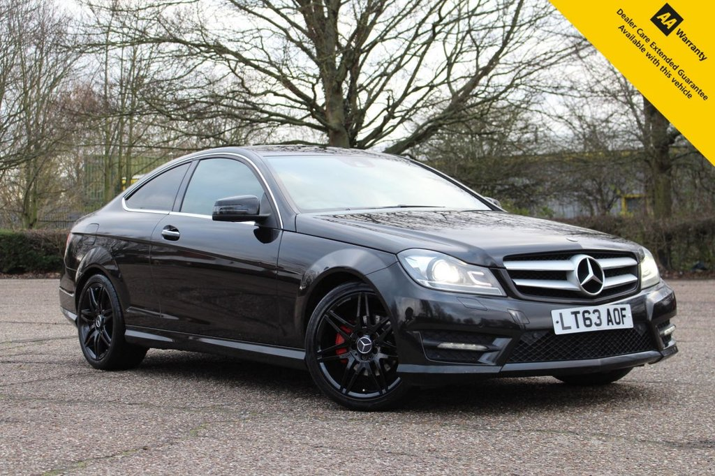 "USED 2013 63 MERCEDES-BENZ C-CLASS 2.1 C250 CDI BLUEEFFICIENCY AMG SPORT PLUS 2d 202 BHP ** FULL SERVICE HISTORY ** BRAND NEW MOT ** FRESHLY REFURBISHED UPGRADED 18"" AMG ALLOY WHEELS FINISHED IN BLACK + RED BRAKE CALIPERS ** SAT NAV ** LEATHER ** ELECTRIC SEATS ** CRUISE CONTROL ** BLUETOOTH ** AUTO LIGHTS + WIPERS ** FRONT + REAR PARK DISTANCE CONTROL ** BUILD & SAVE YOUR DEAL ONLINE TODAY ** BUY ONLINE IN CONFIDENCE FROM A MULTI AWARD WINNING 5* RATED DEALER **"