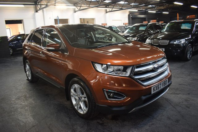 USED 2017 67 FORD EDGE 2.0 TITANIUM TDCI 5d 207 BHP 4X4 LUX PACK AUTO CAYON RIDGE METALLIC - 1 OWNER - LUX PACK - AUTO - 4X4 - LEATHER - GLASS PANROOF - HEATED COOLED SEATS - CRASH ALERT