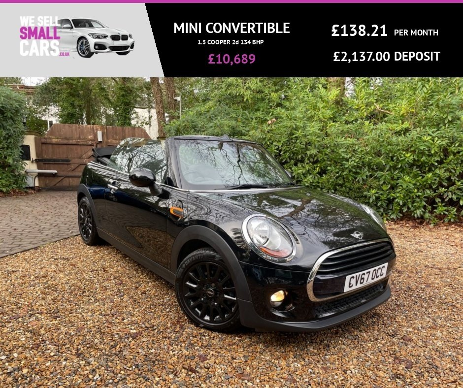 USED 2017 67 MINI CONVERTIBLE 1.5 COOPER 2d 134 BHP 1 OWNER SERVICE 16 INCH ALLOYS REAR PARKING CLIMATE CONTROL