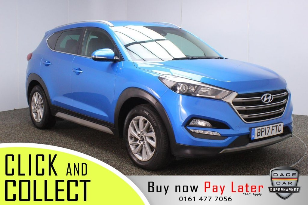 USED 2017 17 HYUNDAI TUCSON 1.7 CRDI PREMIUM BLUE DRIVE 5DR 114 BHP + 1 OWNER + FULL LEATHER FULL SERVICE HISTORY + HEATED LEATHER SEATS + HEATED REAR SEATS + REVERSING CAMERA + PARKING SENSOR + LANE ASSIST SYSTEM + BLIND SPOT MONITORING + BLUETOOTH + CRUISE CONTROL + CLIMATE CONTROL + MULTI FUNCTION WHEEL + XENON HEADLIGHTS + PRIVACY GLASS + DAB RADIO + ELECTRIC FRONT SEATS + AUX/USB PORTS + ELECTRIC WINDOWS + ELECTRIC/HEATED/FOLDING DOOR MIRRORS + 17 INCH ALLOY WHEELS