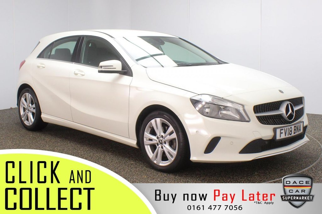 USED 2018 18 MERCEDES-BENZ A-CLASS 1.6 A180 SPORT EXECUTIVE 5DR AUTO 121 BHP + SAT NAV + LEATHER + 1 OWNER HEATED LEATHER SEATS + SATELLITE NAVIGATION + REVERSING CAMERA + PARKING SENSOR + BLUETOOTH + CRUISE CONTROL + CLIMATE CONTROL + MULTI FUNCTION WHEEL + PRIVACY GLASS + RADIO/CD + USB PORT + ELECTRIC WINDOWS + ELECTRIC MIRRORS + 17 INCH ALLOY WHEELS