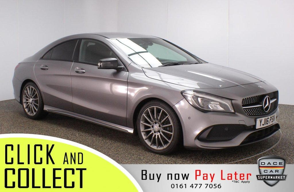 USED 2016 16 MERCEDES-BENZ CLA 2.1 CLA 220 D AMG LINE 4DR AUTO 174 BHP + SAT NAV +  FULL MERCEDES-BENZ SERVICE HISTORY + £20 12 MONTHS ROAD TAX + HALF LEATHER SEATS + SATELLITE NAVIGATION + REVERSING CAMERA + PARKING SENSOR + BLUETOOTH + CRUISE CONTROL + CLIMATE CONTROL + MULTI FUNCTION WHEEL + LED HEADLIGHTS + PRIVACY GLASS + ELECTRIC WINDOWS + ELECTRIC MIRRORS + 18 INCH ALLOY WHEELS