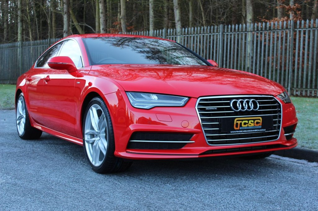 USED 2015 15 AUDI A7 3.0 SPORTBACK TDI QUATTRO S LINE 5d 215 BHP A STUNNING MISANO RED PEARL AUDI A7 QUATTRO WITH BLACK LEATHER AND 20 INCH ALLOY WHEELS!!!