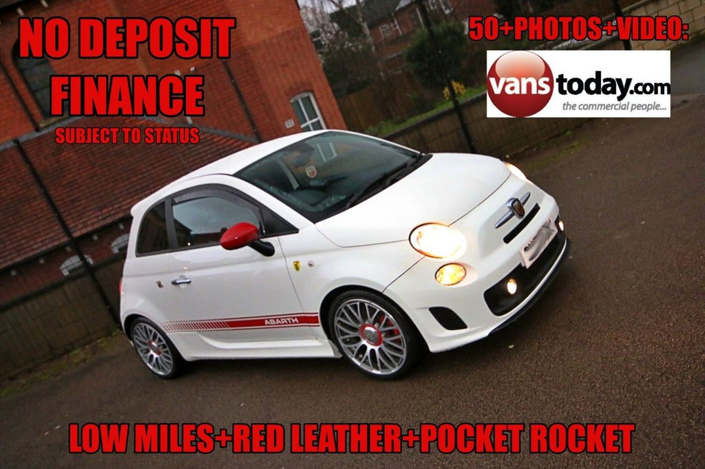 USED 2013 63 ABARTH 500 1.4 ABARTH 3d 135 BHP WHITE WITH RED LEATHER + UPGRADE WHEELS + LOW MILES