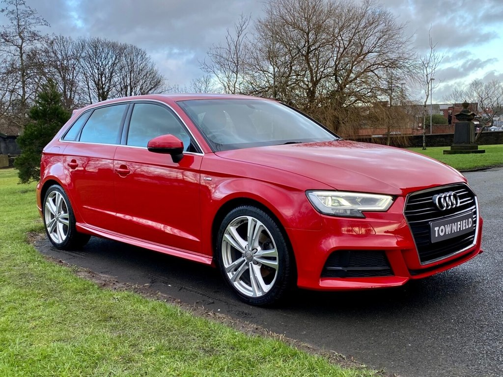 USED 2018 18 AUDI A3 1.5 TFSI S LINE 5d 148 BHP 1 Owner from New with the latest Virtual Cockpit Display. Complete with a Great Specification to Include: HDD Satellite Navigation + Audi Digital Virtual Cockpit + Bluetooth Connectivity Including Smartphone Interface + DAB Radio, S-Line Embossed Leather Alcantara Seats, 18 Inch Alloy Wheels, 3 Spoke Flat Bottomed Leather Multi Function Steering Wheel, Cruise Control, Digital Dual Zone Climate Control, Park Distance Control, Automatic Bi-Xenon Headlights with LED Signature + Power Wash, On-board