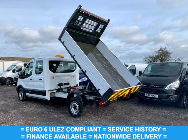 USED 2018 68 FORD TRANSIT 2.0 350 L3 DCB C/C TIPPER 129 BHP EURO 6 DOUBLE CAB TIPPER , 7 SEATS