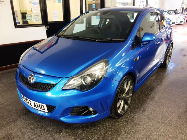 "USED 2012 12 VAUXHALL CORSA 1.6 VXR BLUE EDITION 3d 189 BHP This VXR Corsa is finished in Arden Blue Metallic with Black and Blue leather & Cloth RECARO seats. It is fitted with Satellite Navigation, Bluetooth, air conditioning, remote locking, electric windows and mirrors, cruise control, Xenon & LED daylights, Tinted Glass, rear park assist, 18"" grey alloys, CD Stereo with Aux ports and more. It has been owned privately and comes with a full service history consisting of seven stamps. The current Mot runs till June 2021."