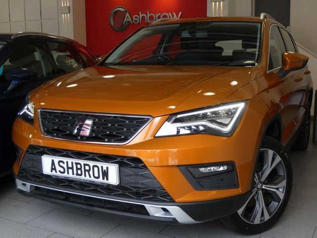 USED 2018 67 SEAT ATECA 1.4 EcoTSI SE TECHNOLOGY 5d 150 S/S 1 OWNER, FULL SERVICE HISTORY, SAT NAV, FULL LINK FOR APPLE CARPLAY / ANDROID AUTO, SPEED LIMITER, 18 INCH ALLOYS, LED LIGHTS, FRONT ASSIST, REAR PARKING SENSORS WITH DISPLAY, TOWING EQUIPMENT, DAB RADIO, BLUETOOTH, VOICE CONTROL, CD WITH SD CARD READERS, AUX INPUT, 2x USB PORTS, MANUAL 6 SPEED,  ELECTRIC FOLDING HEATED DOOR MIRRORS, LEATHER FLAT BOTTOM MULTIFUNCTION STEERING WHEEL, DUAL CLIMATE AIR CON, AUTO HILL HOLD, DRIVING MODE SELECT, ILLUMINATING VANITY MIRRORS, MFD TRIP COMPUTER, VAT Q