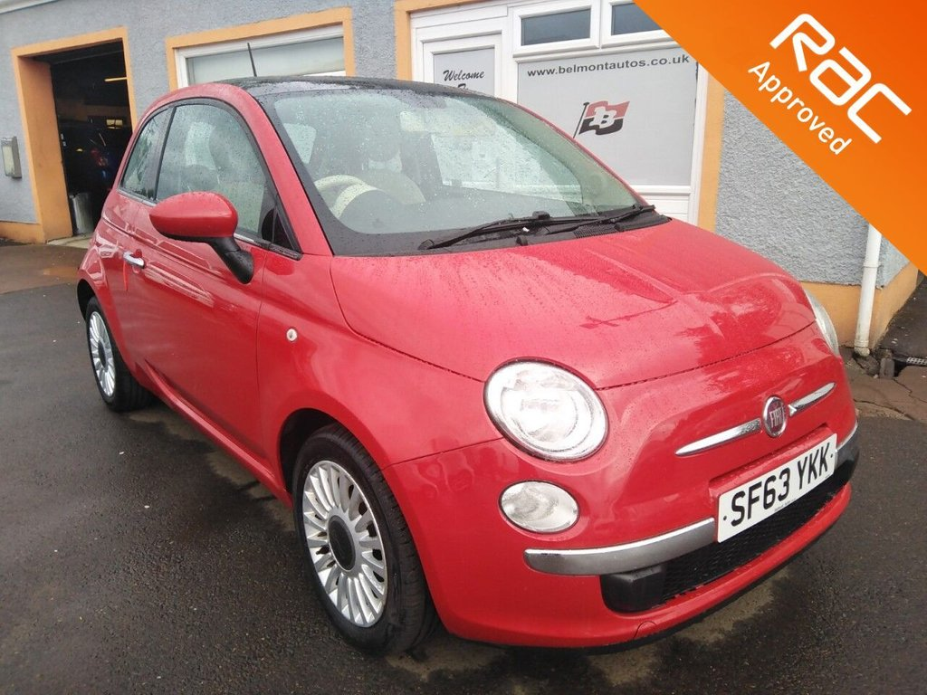 """USED 2013 63 FIAT 500 1.2 LOUNGE 3d 69 BHP Panoramic Roof, 15"""" Alloys, Bluetooth, Air Conditioning, Free RAC Warranty"""