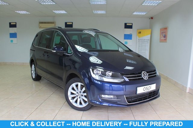 """USED 2015 65 VOLKSWAGEN SHARAN 2.0 SEL TDI BLUEMOTION TECHNOLOGY DSG 5d 181 BHP 7 SEATER BLACK HALF LEATHER, SATELLITE NAVIGATION, CLIMATE CONTROL, ELECTRIC GLASS PANORAMIC TILT/SLIDE SUNROOF, 7 SEATER, BLUETOOTH, REAR PRIVACY GLASS, LUMBAR SUPPORT, HEATED FRONT SEATS, AIRCON GLOVEBOX, PADDLE SHIFT, ROOF RAILS, FRONT & REAR PARKING SENSORS, CRUISE CONTROL, 17"""" ALLOY WHEELS, AUTO HOLD, MULTI FUNCTION STEERING WHEEL"""