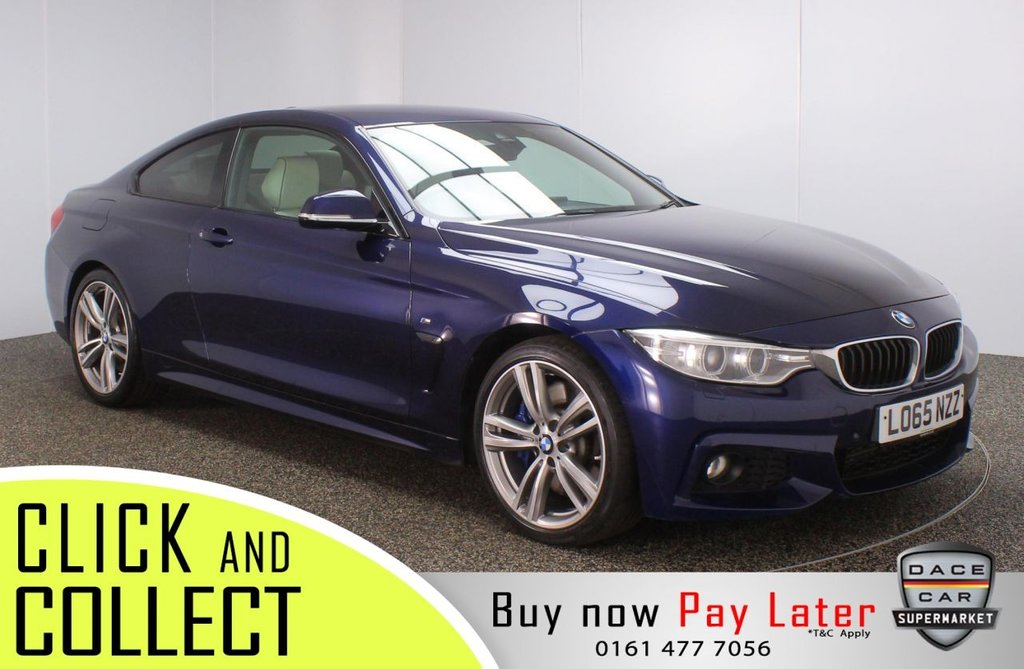 USED 2015 65 BMW 4 SERIES 3.0 430D M SPORT 2DR AUTO 255 BHP FULL BMW SERVICE HISTORY + HEATED LEATHER SEATS + SATELLITE NAVIGATION PROFESSIONAL + HEAD-UP DISPLAY + PARK ASSIST + REVERSING CAMERA + PARKING SENSOR + HARMAN/KARDON PREMIUM SPEAKERS + BLUETOOTH + CRUISE CONTROL + CLIMATE CONTROL + MULTI FUNCTION WHEEL + XENON HEADLIGHTS + ELECTRIC/MEMORY FRONT SEATS + ELECTRIC WINDOWS + ELECTRIC/HEATED/FOLDING DOOR MIRRORS + 19 INCH ALLOY WHEELS