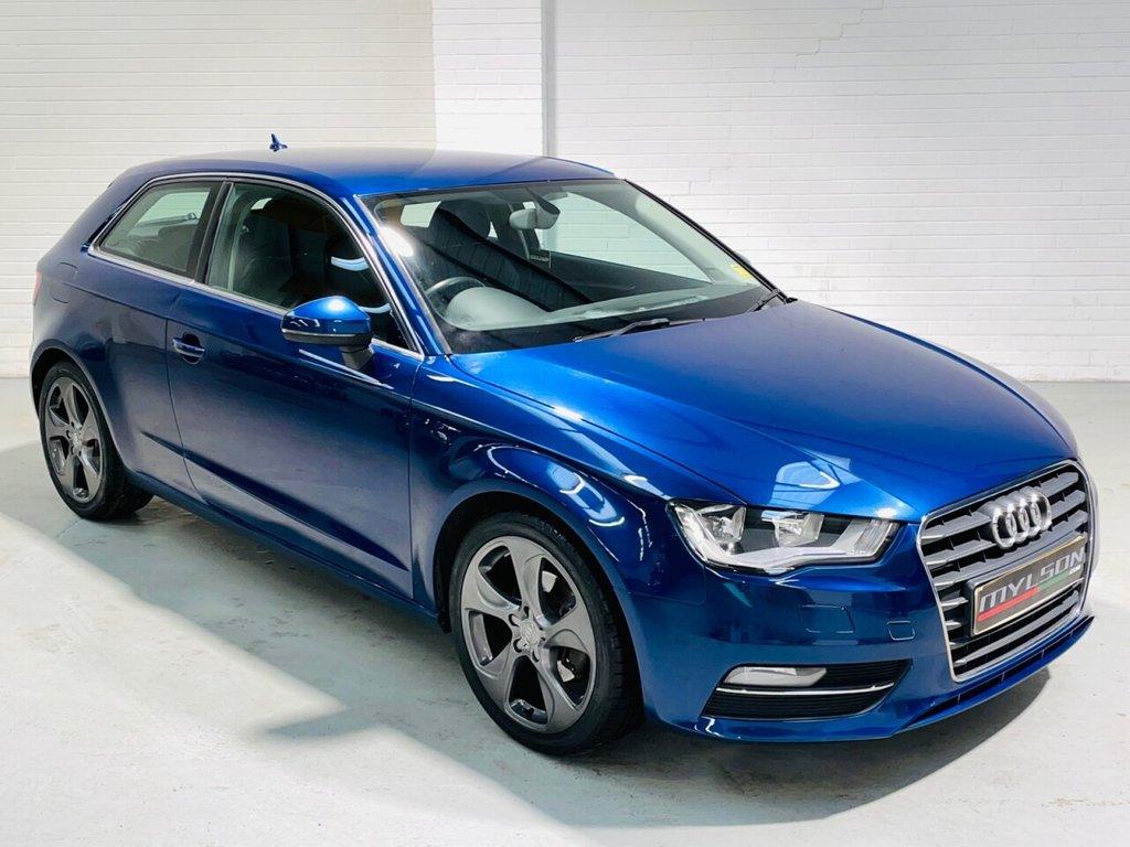 USED 2013 62 AUDI A3 1.6 TDI SPORT 3d 104 BHP Scuba Blue, Black Leather Interior, 18in Wheels, Zero Road Tax