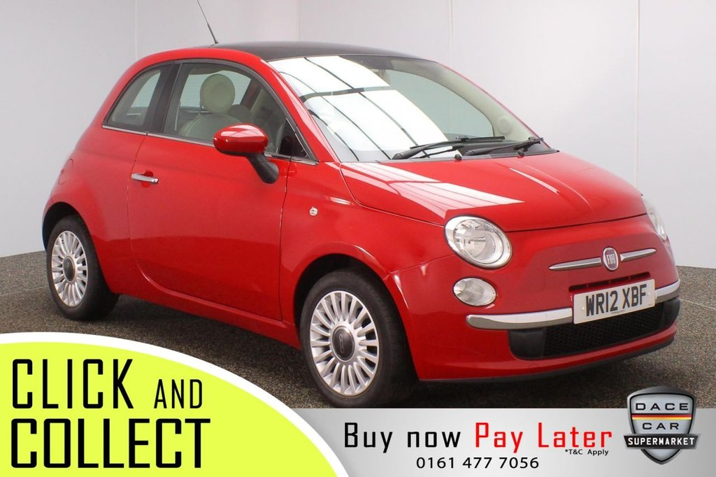USED 2012 12 FIAT 500 1.2 LOUNGE 3DR 69 BHP £30 12 MONTHS ROAD TAX + PANORAMIC ROOF + BLUETOOTH + MULTI FUNCTION WHEEL + AUX/USB PORTS + ELECTRIC WINDOWS + ELECTRIC DOOR MIRRORS + 15 INCH ALLOY WHEELS