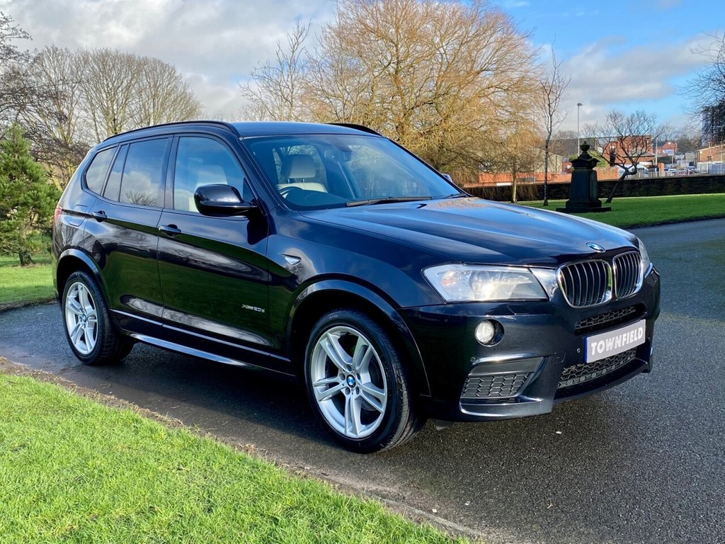 USED 2013 13 BMW X3 2.0 XDRIVE20D M SPORT 5d 181 BHP A Superb Automatic Transmission 4 x 4 SUV with a Full Documented Service History and Great Specification. Finished in Metallic Black with Full Sand Heated Leather, Satellite Navigation + Bluetooth Connectivity + DAB Radio, Front and Rear Park Distance Control + Optical Park, 19 Inch M Double Spoke Alloy Wheels, Spare set of 17 Inch Winter Alloy Wheels and Tyre's, Automatic Bi-Xenon Headlights + Power Wash, Leather Multi Function Steering Wheel, Cruise Control, Digital Dual Zone Climate Control