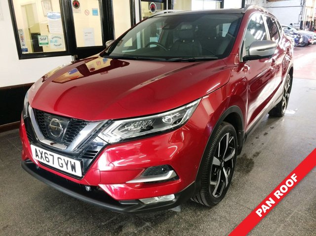 USED 2018 67 NISSAN QASHQAI 1.5 DCI TEKNA PLUS 5d 108 BHP This one private owner New shape Qashqai Tekna + is finished in Magnetic red with Heated Black Nappa Leather seats. It is fitted with Panoramic glass roof, remote locking, electric windows and mirrors with power fold, Sat Nav/360 degrees Camera, dual zone climate control, cruise control, Bluetooth, lane departure warning, front and rear parking sensors, diamond cut alloy wheels, Tinted Glass, DAB Radio, BOSE Speaker system, USB & Aux port and more. It comes with a full service history.