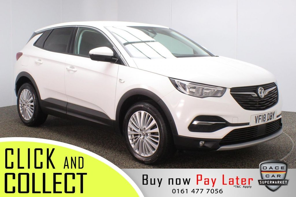 USED 2018 18 VAUXHALL GRANDLAND X 1.6 TECH LINE NAV S/S 5DR 1 OWNER 119 BHP FULL SERVICE HISTORY + SATELLITE NAVIGATION + PARKING SENSOR + BLUETOOTH + CRUISE CONTROL + CLIMATE CONTROL + MULTI FUNCTION WHEEL + DAB RADIO + USB PORT + PRIVACY GLASS + ELECTRIC WINDOWS + ELECTRIC/HEATED FOLDING DOOR MIRRORS + 18 INCH ALLOY WHEELS