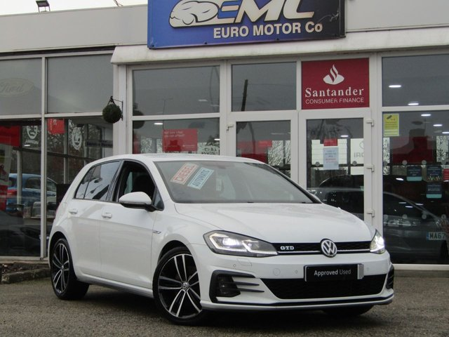 """USED 2017 67 VOLKSWAGEN GOLF 2.0 GTD TDI DSG 5d 182 BHP Finished in PURE WHITE with contrasting GREY sports interior. This is a 1 Owner classic HOT HATCH. Comes with LED run Lights, Virtual Dash, SAT NAV, DAB, Apple Car Play, B/Tooth, 19"""" ALLOYS, Cruise, Power Folding Mirrors and Park Sensors. Performance as the name suggests is very lively and makes an Ideal quick Family Hatch. Dealer serviced at 22942 miles, 33610 miles and at 50839 miles."""
