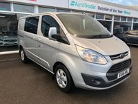 USED 2016 16 FORD TRANSIT CUSTOM 2.2 290 LIMITED Low Roof Double Cab 6 Seats Twin Side Doors in Fantastic Condition with NO VAT TO PAY Serviced new MOT Now Ready to Finance and Drive Away Today 1 Former Keeper + Great Service History