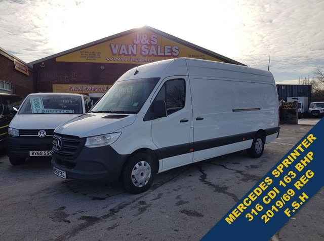 USED 2019 69 MERCEDES-BENZ SPRINTER  316 CDI 163 BHP L.W.B 2019/69 REG 193K F.S.H  BIG STOCK EURO 6 OVER VANS OVER 100 ON SITE
