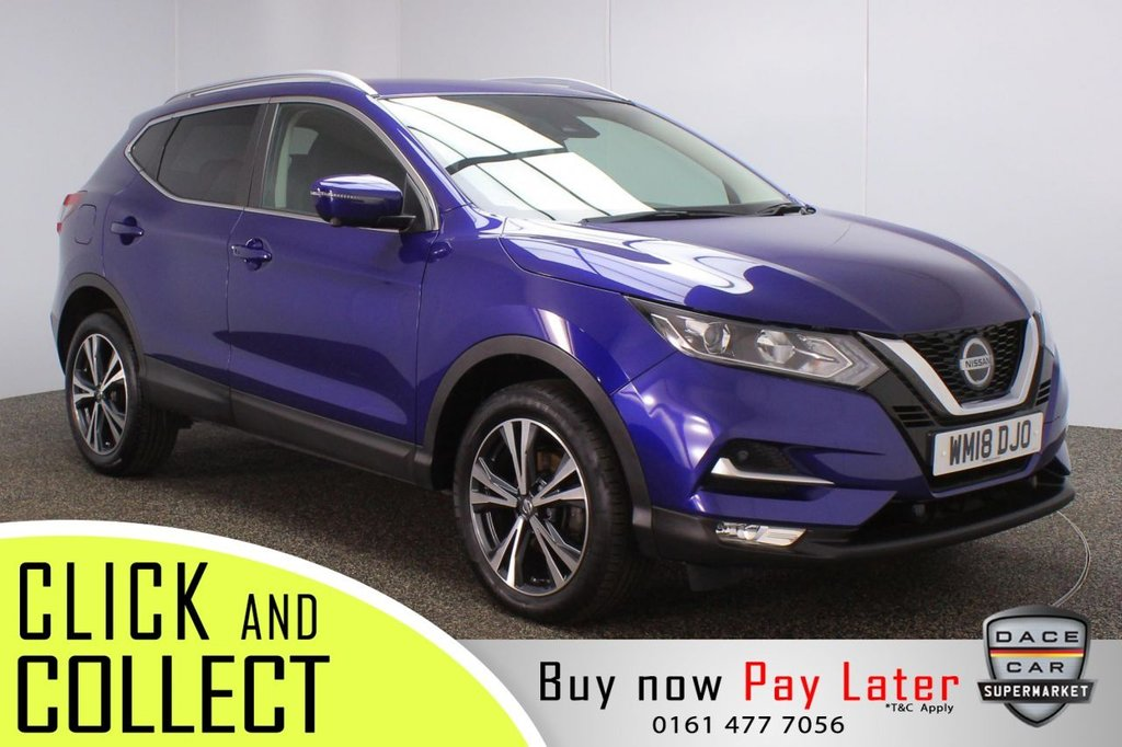 USED 2018 18 NISSAN QASHQAI 1.5 N-CONNECTA DCI 5 DR 1 OWNER 108 BHP FULL SERVICE HISTORY + SATELLITE NAVIGATION + AROUND VIEW MONITOR + LANE ASSIST SYSTEM + PARKING SENSOR + BLUETOOTH + CRUISE CONTROL + CLIMATE CONTROL + MULTI FUNCTION WHEEL + DAB RADIO + PRIVACY GLASS + AUX/USB PORTS + ELECTRIC WINDOWS + ELECTRIC/HEATED DOOR MIRRORS + ALLOY WHEELS