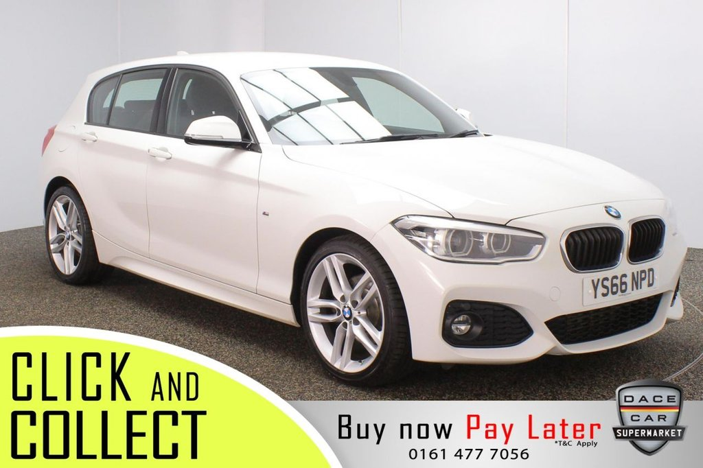 USED 2016 66 BMW 1 SERIES 2.0 120D M SPORT 5DR 1 OWNER AUTO 188 BHP FULL SERVICE HISTORY + £30 12 MONTHS ROAD TAX + SATELLITE NAVIGATION + BLUETOOTH + MULTI FUNCTION WHEEL + AIR CONDITIONING + XENON HEADLIGHTS + DAB RADIO + AUX/USB PORTS + ELECTRIC WINDOWS + ELECTRIC MIRRORS + 18 INCH ALLOY WHEELS