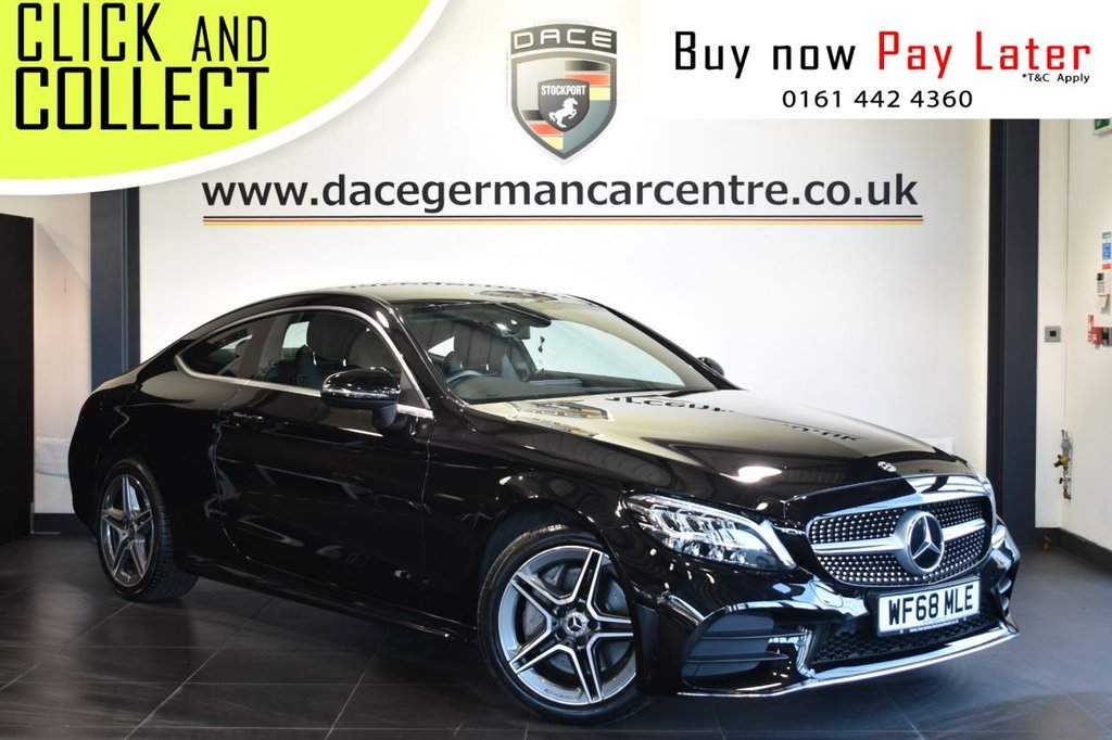 USED 2018 68 MERCEDES-BENZ C-CLASS 2.0 C 300 AMG LINE 2DR AUTO 255 BHP Finished in a stunning Obsidian metallic black styled with 18 inch alloy wheels. Upon entry you are presented with black leather/suede interior, full service history, SD card satellite navigation, smartphone integration, bluetooth, cruise control, DAB radio, heated sport seats, reverse camera, active park assist, keyless start, sports suspension, AMG sport exhaust, ambient illumination, AMG styling package, parking package, mirrors package, electric door mirrors, climate control, air conditionin