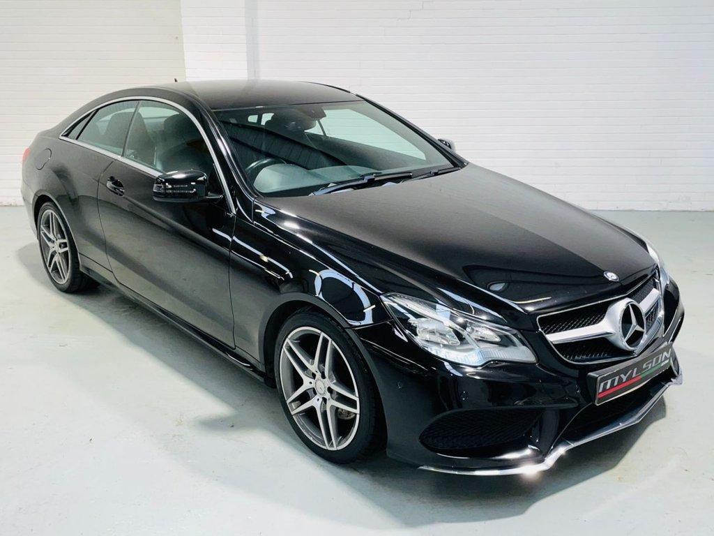 USED 2014 64 MERCEDES-BENZ E-CLASS 2.1 E220 CDI AMG SPORT 2d 170 BHP Black with Black Leather Interior, AMG Pack, COMAND Online Media System