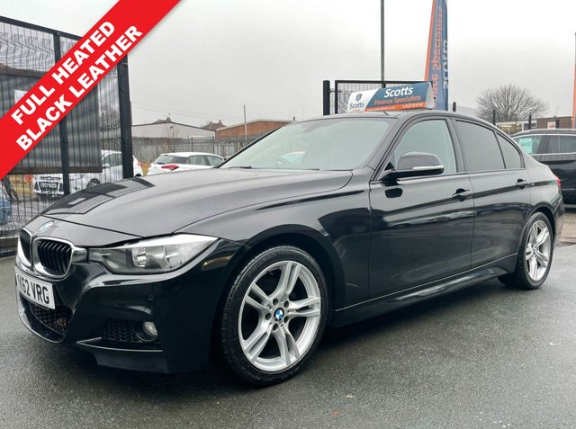 USED 2012 62 BMW 3 SERIES 2.0 320D M SPORT 4 BLACK DIESEL FULL LEATHER LOW TAX SATNAV