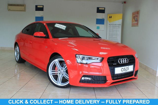 "USED 2013 13 AUDI A5 3.0 SPORTBACK TDI QUATTRO BLACK EDITION S/S 5d 242 BHP BLACK LEATHER & SUEDE, SATELLITE NAVIGATION, CLIMATE CONTROL, FRONT & REAR PARKING SENSORS, AUDI MULTI MEDIA, Bang & Olufsen, REAR PRIVACY GLASS, LUMBAR SUPPORT, PADDLE SHIFT, VOICE ACTIVATION, HEATED FRONT SEATS, DRIVE SELECT, ELECTRIC FOLDING MIRRORS, MULTI FUNCTION STEERING WHEEL, BLUETOOTH, 19"" ALLOY WHEELS, CRUISE CONTROL,"