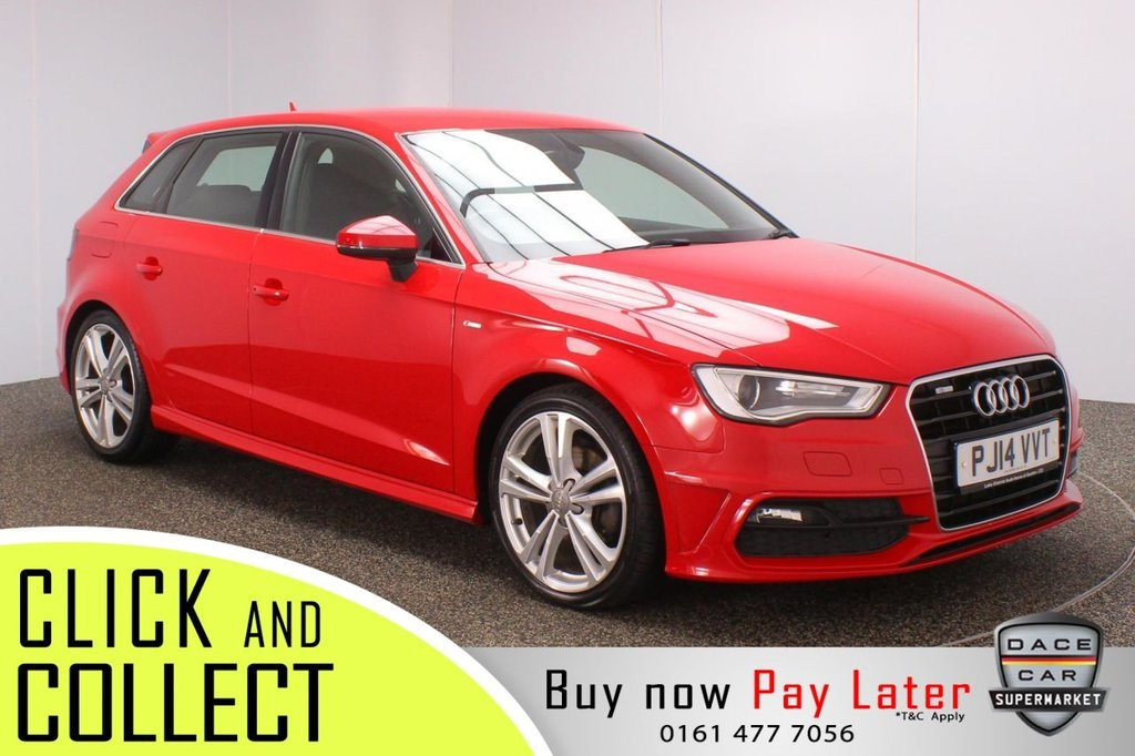 USED 2014 14 AUDI A3 1.4 TFSI S LINE 5DR 139 BHP FULL SERVICE HISTORY + £30 12 MONTHS ROAD TAX + BLUETOOTH + CLIMATE CONTROL + MULTI FUNCTION WHEEL + RADIO/CD + ELECTRIC WINDOWS + ELECTRIC/HEATED DOOR MIRRORS + 18 INCH ALLOY WHEELS