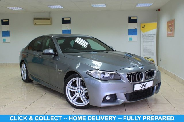 """USED 2014 14 BMW 5 SERIES 2.0 520D M SPORT 4d 181 BHP BLACK DAKOTA LEATHER, SATELLITE NAVIGATION, CLIMATE CONTROL, FRONT & REAR PARKING SENSORS, PARTIAL ELECTRIC FRONT SEATS, CRUISE CONTROL,  HEATED FRONT SEATS, CONNECT DRIVE, REAR PRIVACY GLASS, M SPORT STEERING WHEEL, 19"""" ALLOY WHEELS, MULTI FUNCTION STEERING WHEEL, M SPORT PLUS PACK, SUN PROTECTION GLASS, SOS, PADDLE SHIFT, VOICE ACTIVATION, BLUETOOTH"""