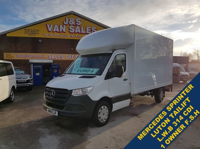 USED 2019 19 MERCEDES-BENZ SPRINTER LUTON BOX VAN TAILIFT L.W.B 2019/19 REG F.S.H  BIG STOCK EURO 6 OVER VANS OVER 100 ON SITE