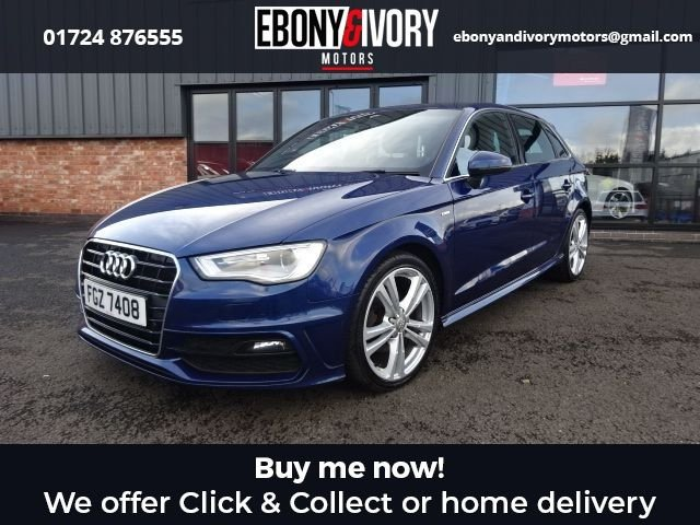 USED 2014 AUDI A3 2.0 TDI S LINE 5d 148 BHP+FRONT+REAR PARKING SENSORS+ SAT NAV+FOLDING MIRRORS+FLAT BOTTOM STEERING WHEEL EXCELLENT EXAMPLE+FULLY SERVICED+1 YEAR MOT+BREAKDOWN COVER