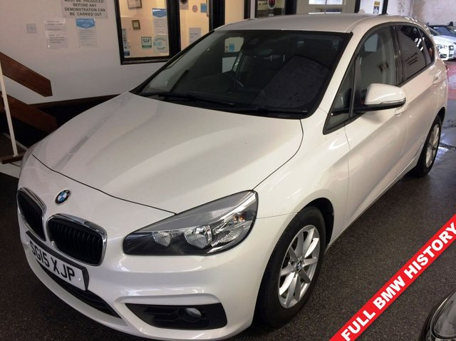 "USED 2015 15 BMW 2 SERIES 2.0 218D SE ACTIVE TOURER 5d 148 BHP BMW + One private owner & Full BMW service history. This 2 Series Sport Active Tourer is finished in White with Anthracite /grey cloth seats. It is fitted with power steering, remote locking, electric windows, mirrors and tailgate, dual zone climate control, cruise control/limiter, rear parking sensors, Bluetooth, LED Day lights, auto lights and wipers, 16"" spoke alloy wheels, DAB CD Stereo with USB & Aux ports and more. It has had two owners from new and comes with a full BMW service history."