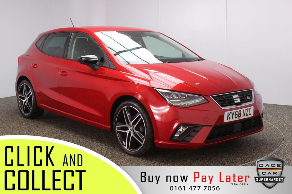 USED 2018 68 SEAT IBIZA 1.0 TSI FR 5DR 1 OWNER 94 BHP  SERVICE HISTORY + SATELLITE NAVIGATION + PARKING SENSOR + BLUETOOTH + CRUISE CONTROL + CLIMATE CONTROL + MULTI FUNCTION WHEEL + LED HEADLIGHTS + PRIVACY GLASS + DAB RADIO + AUX/USB PORTS + ELECTRIC WINDOWS + ELECTRIC/HEATED/FOLDING DOOR MIRRORS + 18 INCH ALLOY WHEELS