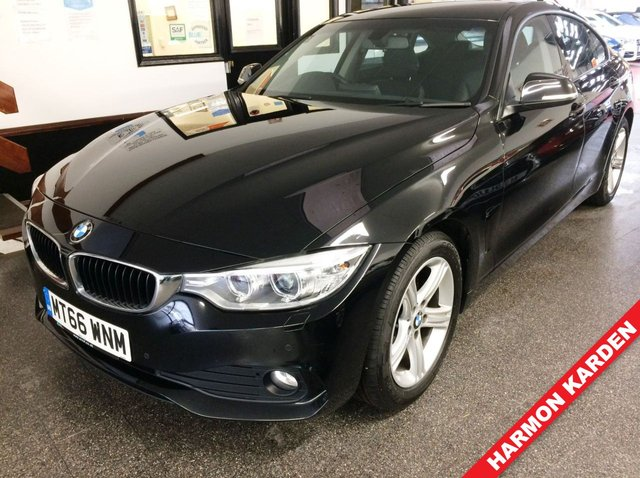 """USED 2016 66 BMW 4 SERIES 2.0 420D SE GRAN COUPE 4d 188 BHP This 420d Gran Coupe SE is finished in Jet Black with full Black Dakota Heated Leather seats. It is fitted with power steering, remote locking, electric windows and mirrors, dual zone climate control, cruise control, front and rear parking sensors, Satellite Navigation,  LED Day lights & Xenon lights, 17"""" Alloy wheels, DAB Stereo with HARMON KARDON upgrade, Aux/USB port and more. It has had one owner from new and comes with a full BMW service history with visits at 16826/26520/29279/30216 miles."""