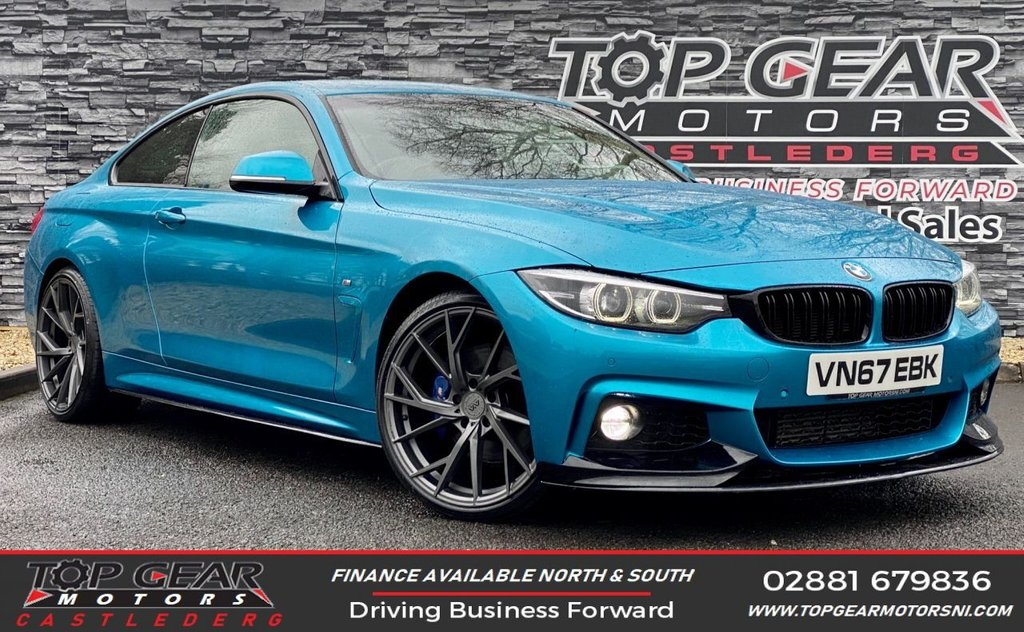 USED 2017 67 BMW 4 SERIES 2.0 190 BHP 420D M SPORT AUTO SNAPPER ROCKS PROFESSIONAL MEDIA FULL M-PERFORMANCE KIT, SNAPPER ROCKS BLUE, DELIVERY AVAILABLE