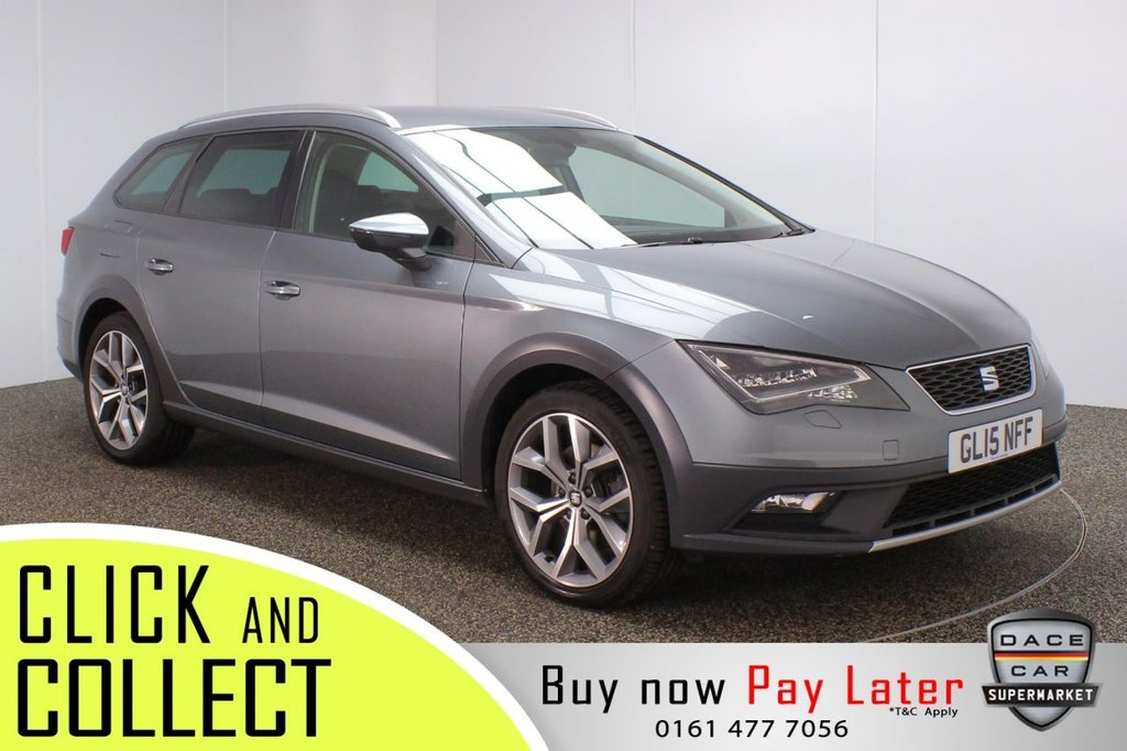 USED 2015 15 SEAT LEON 2.0 X-PERIENCE TDI SE TECHNOLOGY DSG 5DR AUTO 184 BHP HEATED LEATHER SEATS + SATELLITE NAVIGATION + PARKING SENSOR + BLUETOOTH + CRUISE CONTROL + CLIMATE CONTROL + MULTI FUNCTION WHEEL + LED HEADLIGHTS + ELECTRIC FRONT SEATS + AUX/USB PORTS + ELECTRIC WINDOWS + ELECTRIC/HEATED/FOLDING DOOR MIRRORS + 18 INCH ALLOY WHEELS