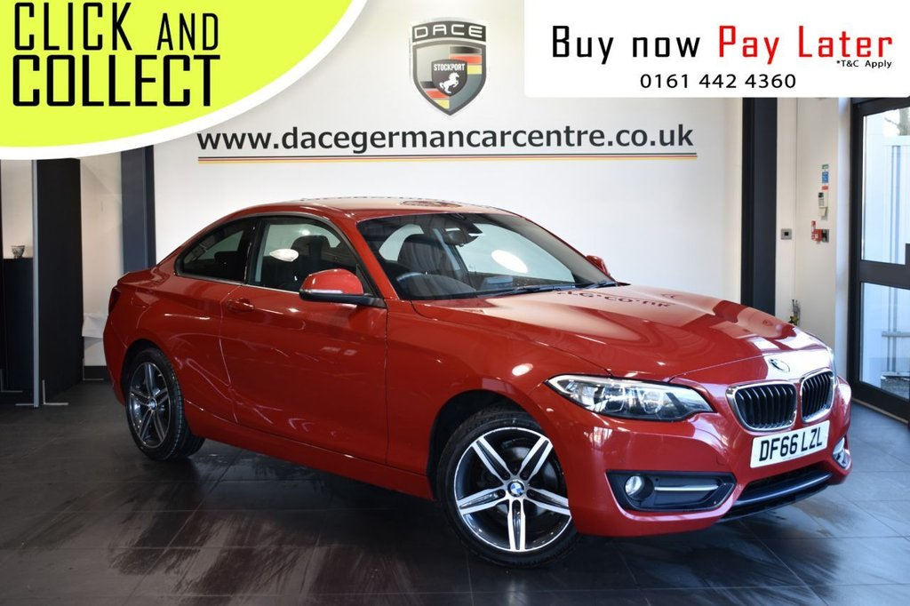 USED 2016 66 BMW 2 SERIES 2.0 218D SPORT 2DR 1 OWNER 148 BHP FULL SERVICE HISTORY + £30 12 MONTHS ROAD TAX + SATELLITE NAVIGATION + PARKING SENSOR + BLUETOOTH + CRUISE CONTROL + AIR CONDITIONING + DAB RADIO + ELECTRIC WINDOWS + ELECTRIC MIRRORS + 17 INCH ALLOY WHEELS