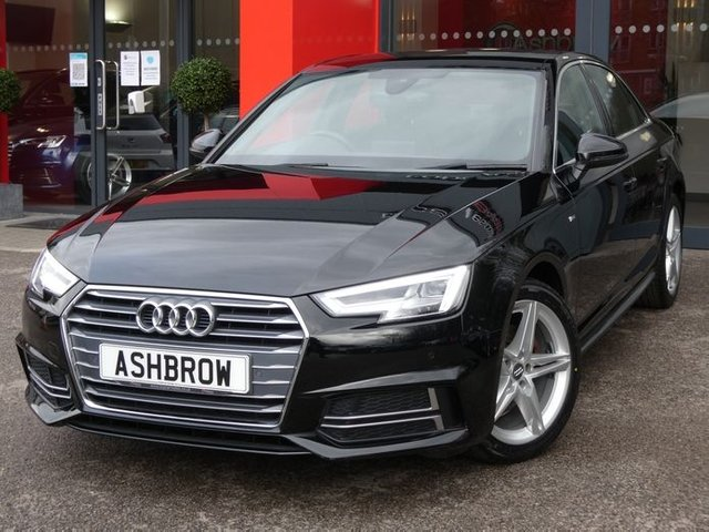 USED 2018 18 AUDI A4 1.4 TFSI S LINE 4d 150 AUTO S/S SAT NAV, APPLE CAR PLAY & ANDROID AUTO, DAB RADIO, CRUISE CONTROL & SPEED LIMITER, BLUETOOTH, FRONT & REAR PARKING SENSORS, S TRONIC AUTOMATIC GEARBOX,  BLACK LEATHER ALCANTARA INTERIOR, SPORT SEATS WITH LUMBAR SUPPORT, LEATHER TIPTRONIC MULTIFUNCTION STEERING WHEEL, LIGHT & RAIN SENSORS, AUDI DRIVE SELECT, KEYLESS START, WIFI, AUX INPUT, 2x USB PORTS, EFFICIENCY ASSIST, AUDI PRE SENSE, 1 OWNER FROM NEW, SERVICE HISTORY, BALANCE OF AUDI WARRANTY, VAT QUALIFYING