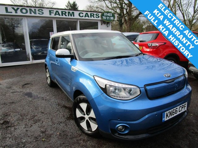 USED 2016 66 KIA SOUL 0.0 EV 81 kW 5d 109 BHP AUTOMATIC Full Kia Main Dealer Service History, One Owner, MOT until October 2021, Electric (EV), Automatic, Balance of Kia Warranty until November 2023 / 100,000 miles! Zero Emissions! Zero Road Tax! 3-Pin UK Charger Included! Up to 132 mile range on a single charge!
