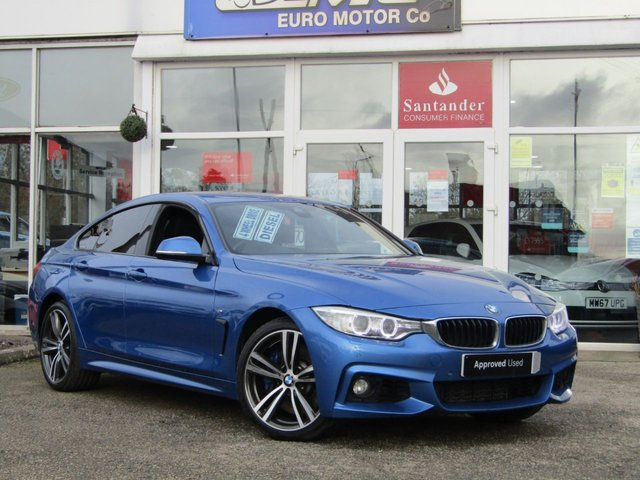 """USED 2016 66 BMW 4 SERIES 3.0 435D XDRIVE M SPORT GRAN COUPE 4d 309 BHP Finished in ESTORIL BLUE MET with contrasting EBONY ELECTRIC MEMORY HEATED SEATS. This New Shape 4 Series offers a great mix of performance, practicality, efficiency, comfort and techy features than almost any other coupes on the market today. Features include Heads Up Display,  Harman Kardon sound, Sat Nav, DAB radio, 19"""" Alloys, B/Tooth, Heated Leather electric memory seats and much more. Dealer serviced at 19166 miles, 38467 miles, 54729 miles, 57683 miles, 64899 miles and at 76010 miles."""