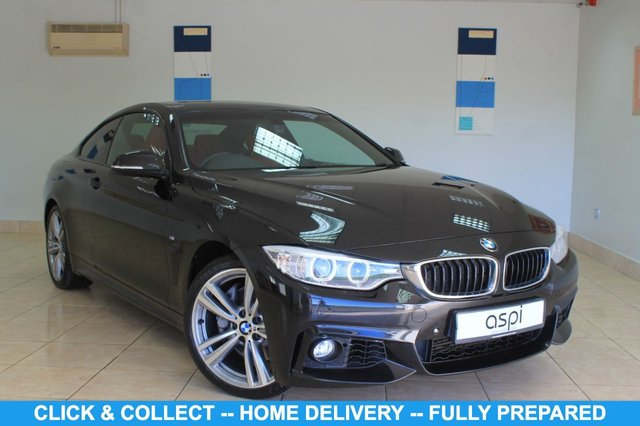 """USED 2014 63 BMW 4 SERIES 3.0 435I M SPORT 2d 302 BHP CORAL RED LEATHER, BMW SAV, PROF MEDIA PK, BMW EMERGENCY CALL, XENONS, BLUETOOTH WITH USB, BMW ONLINE SERVICES, CONCIERGE SERVICE, 19"""" M DOUBLE SPOKE ALLOYS, M SPORT LTHR S/WHEEL, EXTERIOR HIGH GLOSS SHADOW LINE, SUN PRORTECTION GLASS, ELEC MEMORY FRONT SEATS, HEATED FRONT SEATS, REVERSING CAMERA, FRONT & REAR PARKING SENSORS, XENONS, HIGH GLOSS BLACK INT TRIM,"""