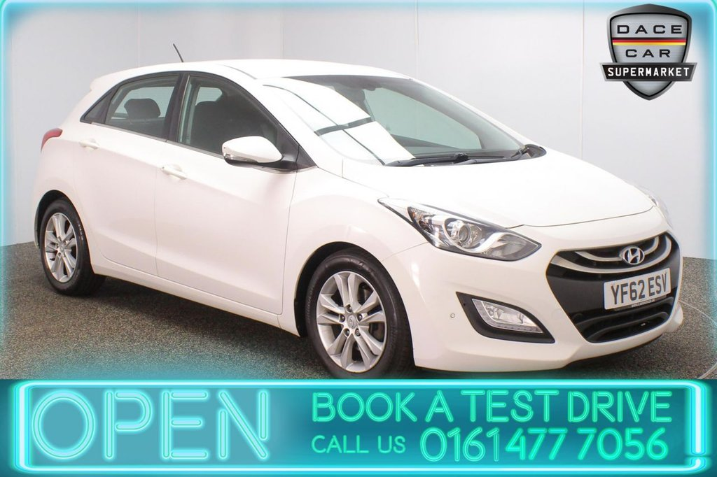 USED 2013 62 HYUNDAI I30 1.6 STYLE CRDI 5DR AUTO 109 BHP SERVICE HISTORY + PARKING SENSOR + BLUETOOTH + CRUISE CONTROL + CLIMATE CONTROL + MULTI FUNCTION WHEEL + AUX/USB PORTS + ELECTRIC WINDOWS + ELECTRIC/HEATED DOOR MIRRORS + 16 INCH ALLOY WHEELS