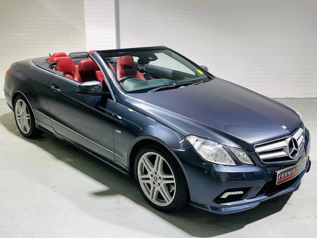 USED 2011 11 MERCEDES-BENZ E-CLASS 2.1 E250 CDI BLUEEFFICIENCY SPORT 2d 204 BHP Tenorite Grey with Red Leather & Hood, Airscarf, Low Mileage