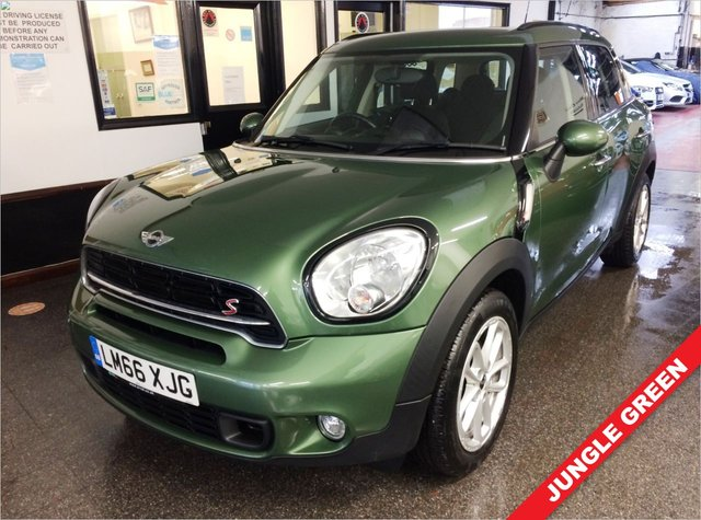 """USED 2016 66 MINI COUNTRYMAN 2.0 COOPER SD 5d 141 BHP This £30 tax Mini Countryman is finished in Metallic Jungle Green along with black cloth seats. It is fitted with remote locking (2 keys), electric windows and mirrors, air conditioning, DAB Bluetooth, 17"""" alloy wheels, sport multi function steering wheel including cruise control, LED Daylights, auto lights, rear park assist, mood lighting, CD Stereo with Aux & USB ports and more. Its Existing MOT is October 2021. We will provide this car with 12 months MOT, a service and 6 months warranty."""